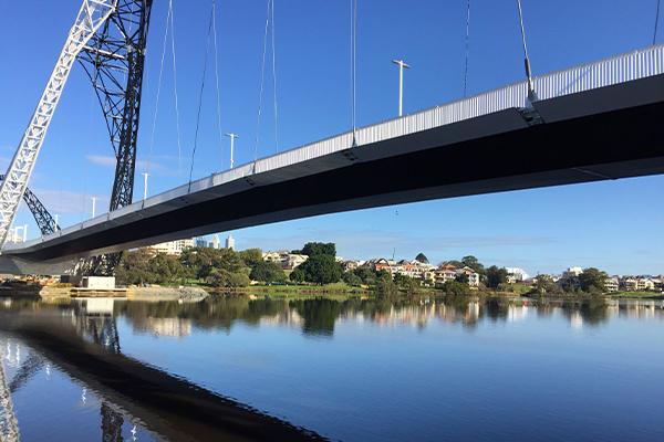 Matagarup Bridge over the Swan River in Perth