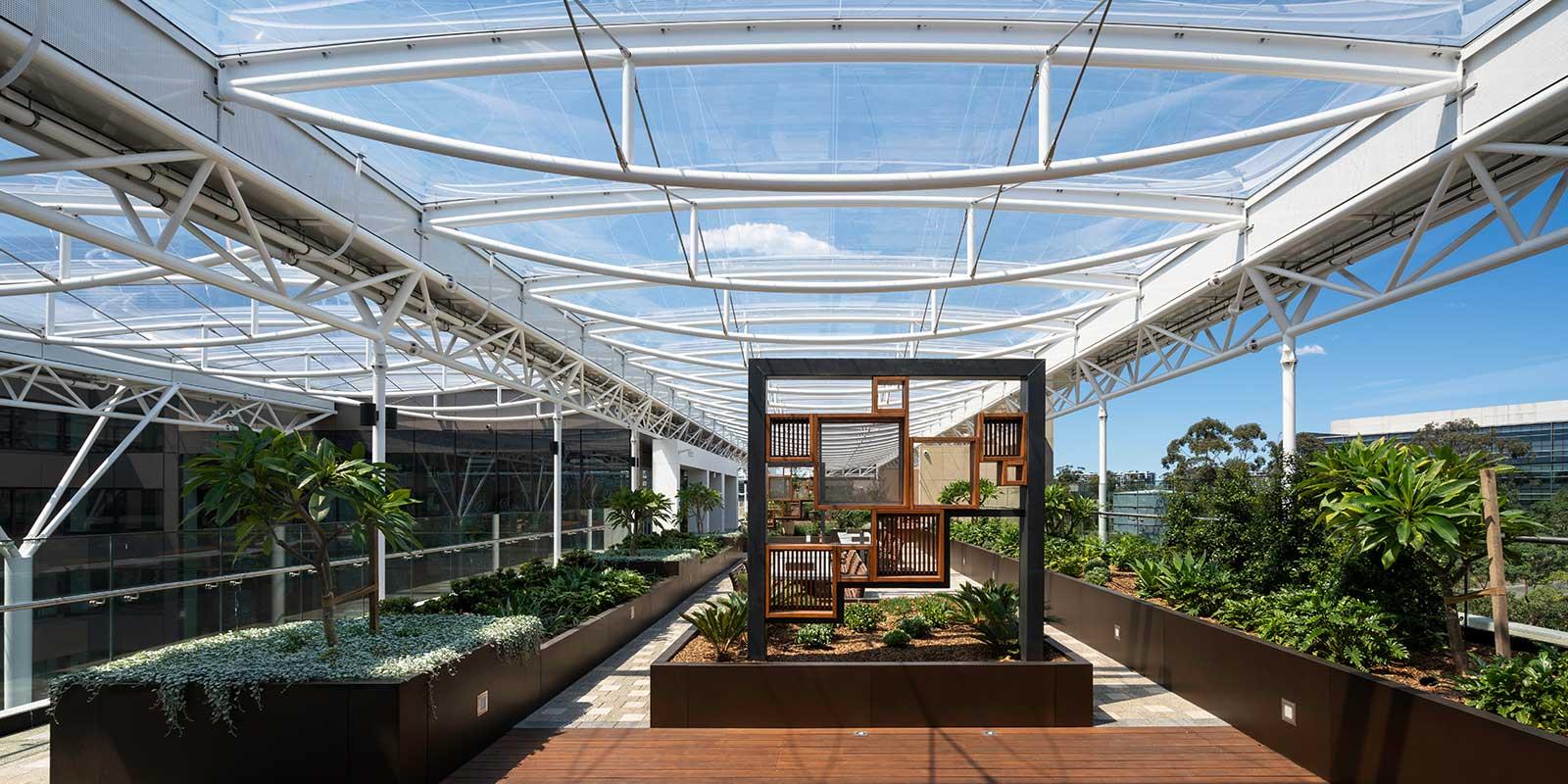 ETFE Roof - Macquarie University Arts Precinct. Photographer: Luke Zeme