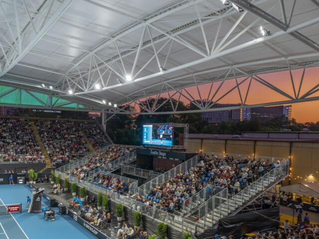 Memorial Drive Tennis Centre at dusk
