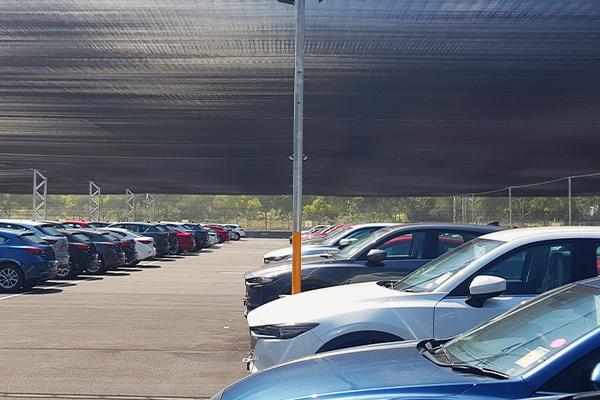 Mass Vehicle Storage - vehicle protection hail net