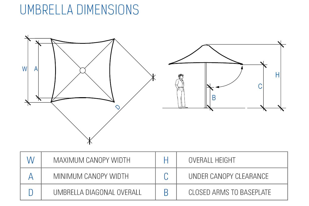 Centra Architectural Umbrella Dimension Diagram