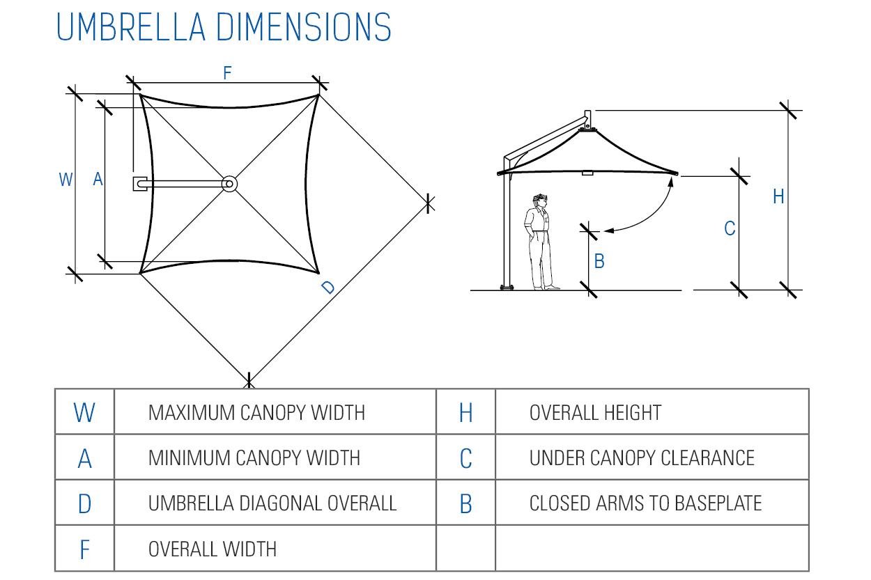 Leva Architectural Umbrella Dimension Diagram