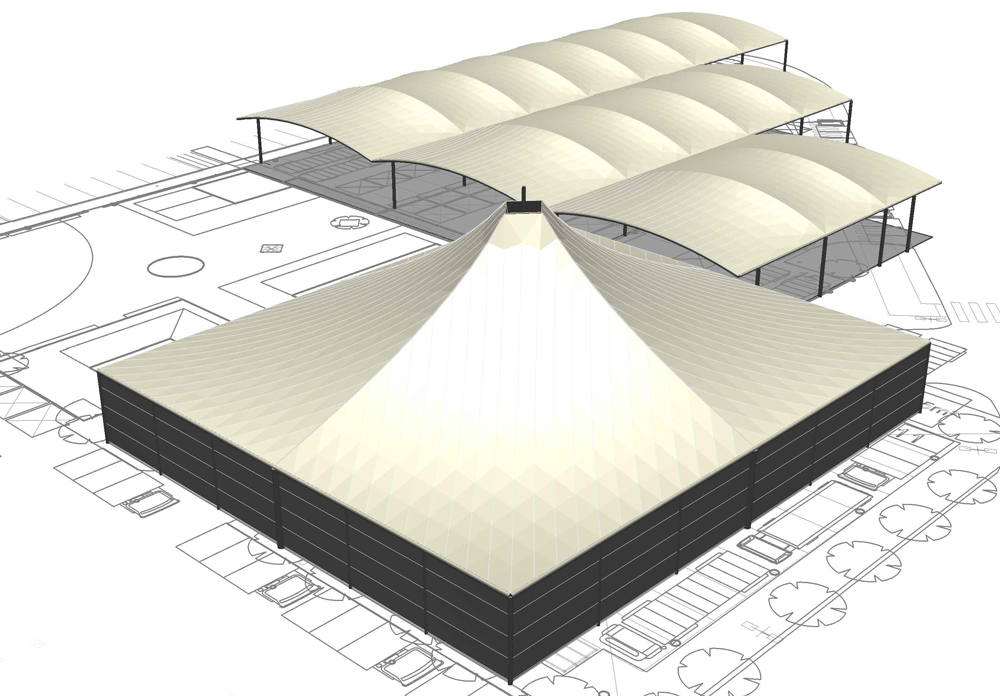 Tensile Membrane Roof CAD Export Example